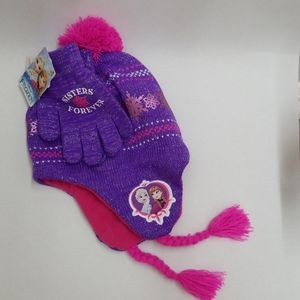 Frozen Beanie and Mitt set purple pink